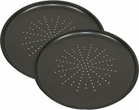 Set Of 2 Large 32cm Non Stick Carbon Steel Round Pizza Oven Baking Tin Trays New