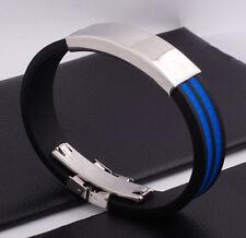 """Unisex Men Women's Stainless Steel Rubber Silicone Bracelet Black 8"""" G31"""