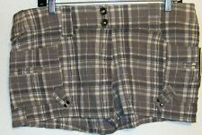 Zinc Plaid Short Shorts Size 11 Juniors  NWT Gray Off White Cotton Spandex Flat