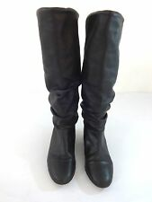 WOMENS BLACK LEATHER PULL ON BOOTS SIZE 6.5 M SUPER CUTE
