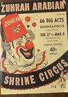 1958 40th ANNUAL ZUHRAH SHRINE CIRCUS ADVERTISING BROCHURE Minneapolis