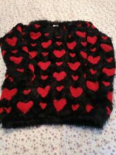 Red HEART Jumper MEDIUM Sweater So Fluffy! Valentine's pullover Long Sleeve Warm