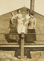 Real Photo Postcard RPPC ~ Four Young Women Standing On Roof