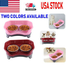 New listing Puppy Pet Dog Cat Feeder Elevated Dish Plastic Trays With 2 Stainless Bowls Sets