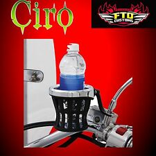 Ciro Universal Black Mirror Mount Cup Holder H-D Touring 50420