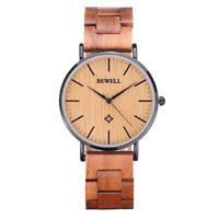 Bewell Wood Watches for Men/Women Quartz Men Wrist Watch Stainless Steel Case
