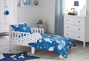 Bloomsbury Mill - 4 Piece Toddler Comforter Set - Outer Space, Rocket & Planet -