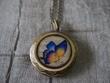 Butterfly Music Score Brass Locket Pendant Necklace Statement Necklace