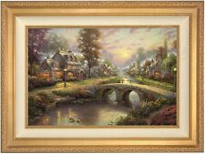 "Thomas Kinkade Sunset on Lamplight Lane 18"" x 27"" LE Canvas A/P (Gold Frame)"