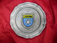 """Vintage Abstract Zinn German Pewter Ornate Wall Plate 9"""" Coat of Arms #1852"""