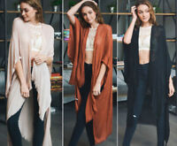 Women's Solid Long Kimono Duster Cardigan Fringe Open Front Wrap Boho Hippie OS
