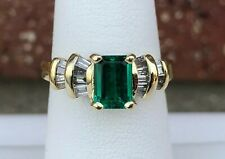 14K YELLOW OLD LADIES CREATED EMERALD & DIAMOND RING