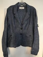 New Women's Caslon Large Blazer 100% Linen Blue Chambray 2 Button Pockets $128