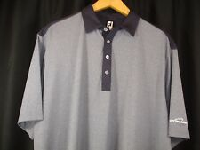 FootJoy Mens Short Sleeve Blue Gray Dark Blue Detail Polo Golf Shirt XL