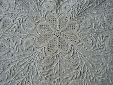 Antique Museum quality 18c tea Tablecloth French hand done white embroidery