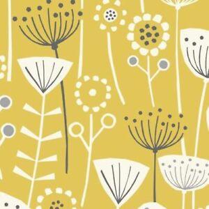 Bergen Ochre Yellow Scandinavian 100% Cotton Curtain, Cushion, Upholstery Fabric
