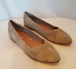 TOMS Women's Size 10 Julie Desert Taupe Suede Ballet Flats Shoes