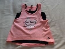 TU Girls Set 2 Pcs Orange & Black Sleeveless Vest Tops Size 5 Years