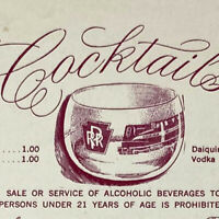 Vintage 1965 Pennsylvania Railroad Dining Car Service Cocktails Wine Menu PRR