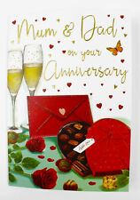 Mum And Dad On Your Wedding Anniversary Card & Envelope Seal Love Parents Verse
