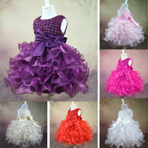 US Baby Girls Flower Dress Princess Kids Wedding Pageant Birthday Party Costumes