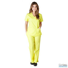 Women's Mock Wrap Medical Hospital Nursing Clinic Scrub Set Uniform Top & Pants