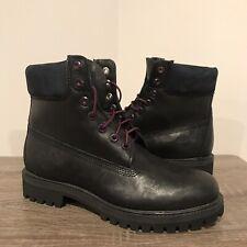 Timberland Classic 6 Inch Premium Boots Black Purple Mens 7.5 Waterproof 40 RARE