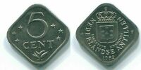 1982 NETHERLANDS ANTILLES 5 CENTS Nickel Colonial Coin #S12351E