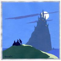 1930s French Pochoir Print Castle in Mist Seascape Moonlight Seashore Scene (L)