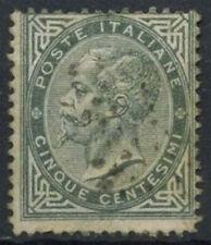 ITALIA 1863-65 SG # 10, 5c Grigio Usato #D 8735