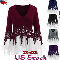 Plus Size Women Lace Tops Long Sleeve Frill Casual Loose Ladies Blouse Shirt