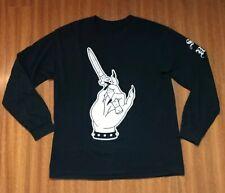 SUFFER Switchblade Knife Manicured Nails Long Sleeve Tshirt Mens L Large Black