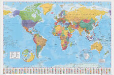 BRAND NEW GIANT MAP OF THE WORLD  WALL POSTER WITH COUNTRY FLAGS SENT ROLLED