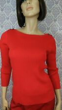 Anne Klein Red Sweater Womens Size Small Fitted Ribbed Shoulder Buttons