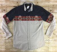 Rustler Western Shirt Mens LT Pearl Snap Southwestern Aztec Rodeo Cowboy Ranch