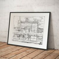 Steam Train Poster - Technical Drawing of Locomotive Engine c1898 - NEW