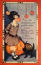 Set of TWO 4x7 Vintage Halloween Girl Bobbing for Appples Quilt & Fabric Blocks