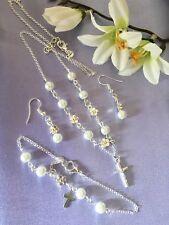 "Sterling Silver 18"" Necklace/white Pearl&flower+bracelet&earings/in a Bx"