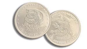 New 1 oz .999 AG Fine Silver Round - Don't Tread On Me Stamped - IN STOCK!!!