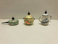 Italy 3 Christmas Ornaments - Frying Pan, Coffee Pot, Cooking Pot - Hand Painted