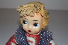 Doll Girl Russian Celluloid Face 1970er Wool Antique Toy Vintage