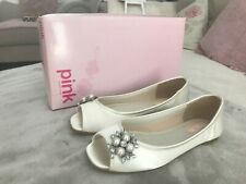 PINK BY PARADOX FLOWER IVORY SATIN SHOES (SIZE UK5 EU38)