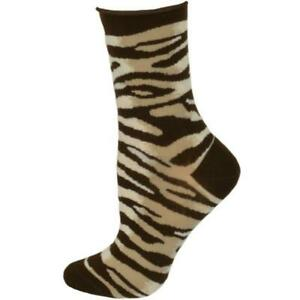Women Leopard Pattern Mid Calf Cotton Relaxed Non Binding Top, Hi- anklet Socks