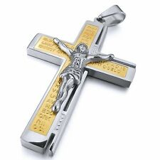 MENDINO Men's Stainless Steel Pendant Necklace Crucifix Cross Jesus Silver Gold