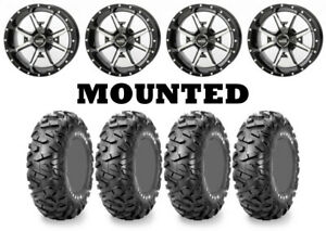 Kit 4 Maxxis Bighorn Radial Tires 26x9-14/26x11-14 on Frontline 556 Machined 550