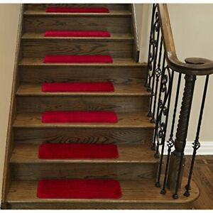 """Sweethome Stores Non-Slip Shag Carpet Stair Treads 9""""X26""""-5 Pack- Red Solid"""