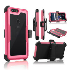 ZTE Blade Z MAX / ZMAX PRO 2 Built in Screen Rugged Holster Belt Clip Clear Case