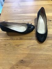 Next Size 7 (41) Black Leather Wedge Heel Court Shoes With Bow
