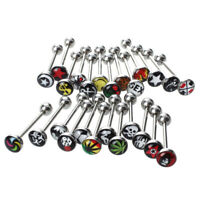 25 Logo Surgical Steel Tongue Bar Ring Barbell Piercing Y2F2