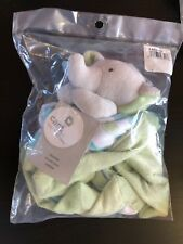 "Carters Green Blue Elephant Gray White Security Blanket Lovey Nunu 13"" X 13"" New"